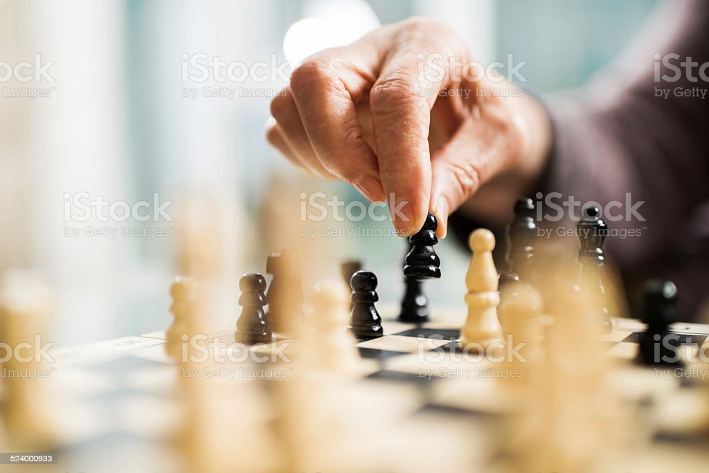 Playing chess. stock photo