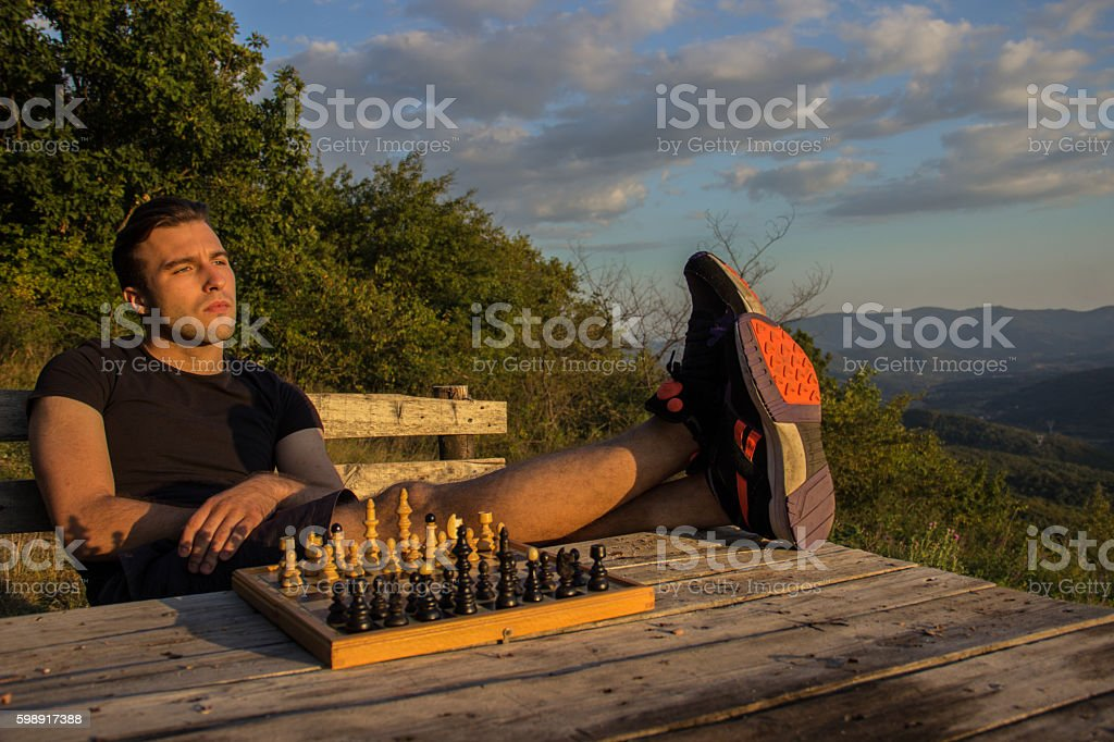 Playing chess royalty-free stock photo