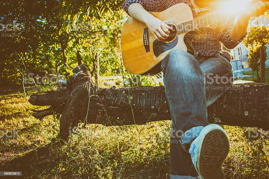 Playing chord in a wild stock photo