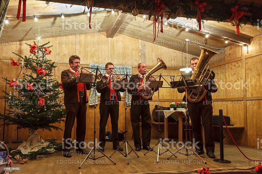 Playing Christmas Melodies, Vipiteno, Italy stock photo