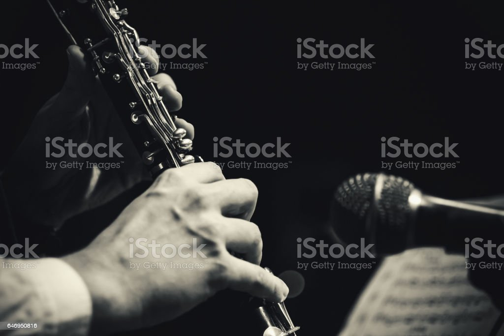 Playing Clarinet Live stock photo