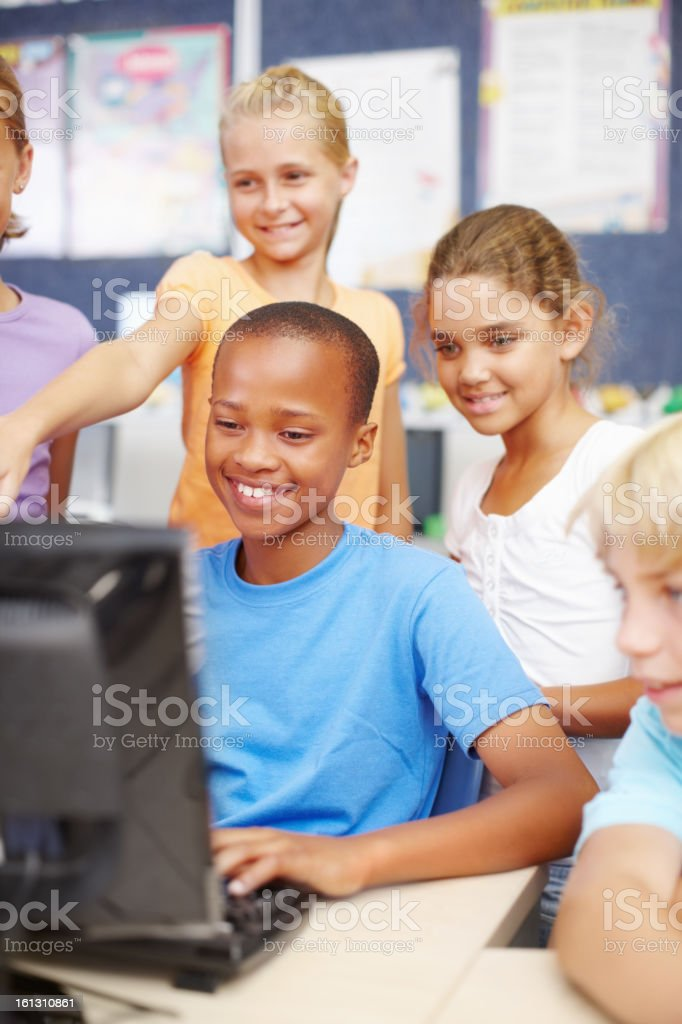 Playing computer games with friends royalty-free stock photo