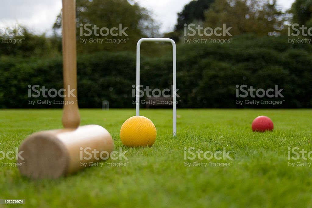 Playing croquet on an English lawn stock photo