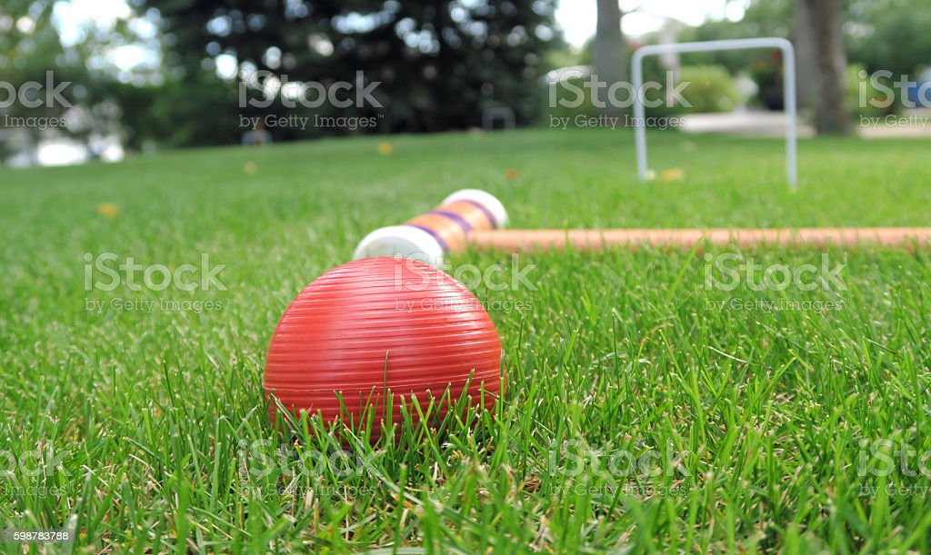 Playing Croquet- the ball and mallet on the grass, close-up stock photo