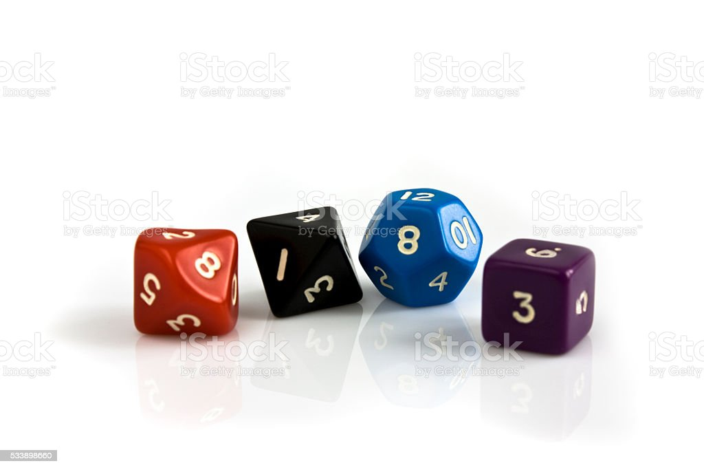 Playing dice on the table stock photo