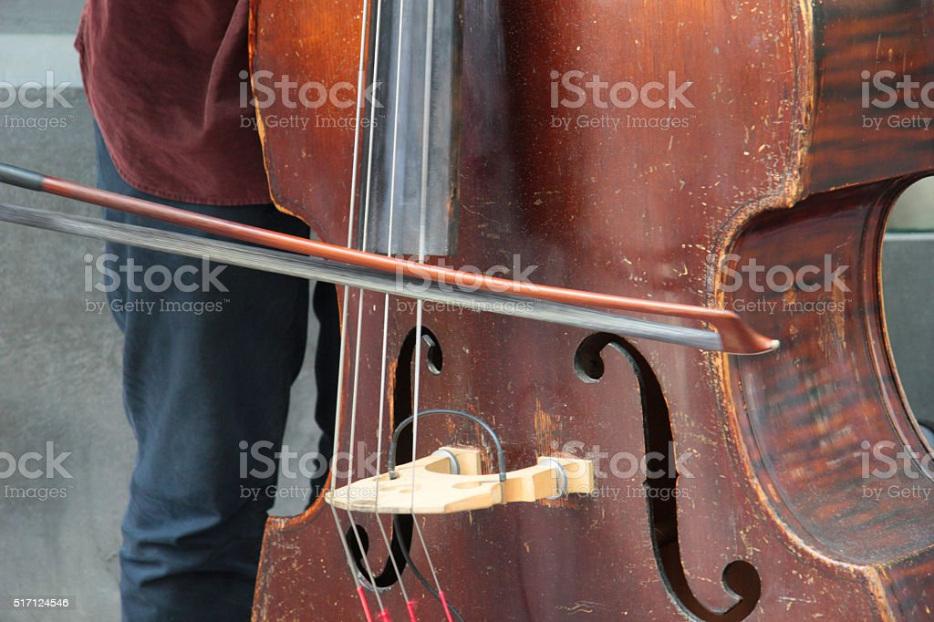 playing double bass stock photo