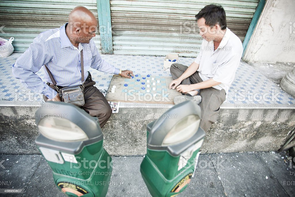 Playing draughts. stock photo