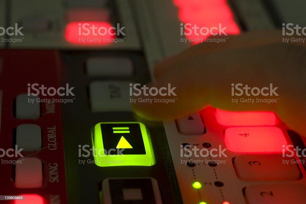 Playing Drum machine stock photo