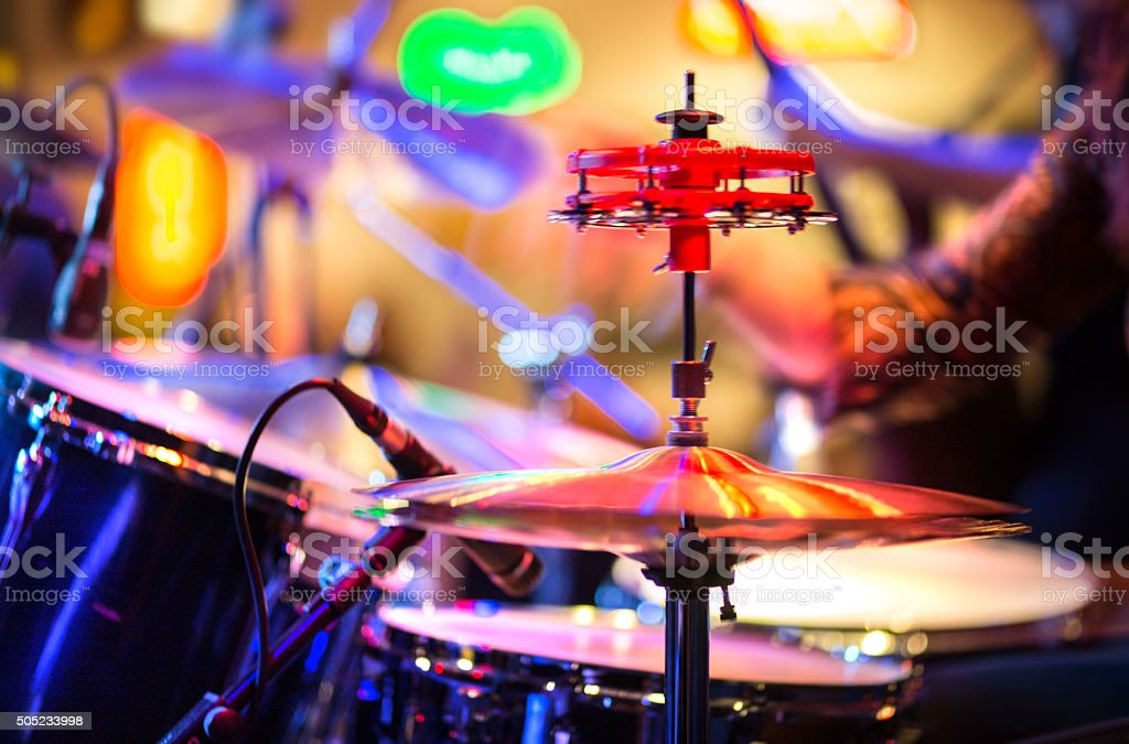playing drums abstract motion blurred stock photo