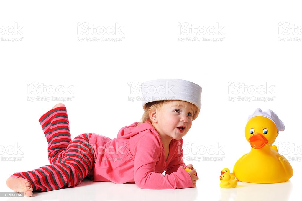 Playing Ducks royalty-free stock photo
