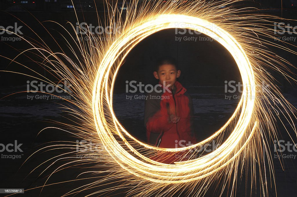 Playing fireworks royalty-free stock photo
