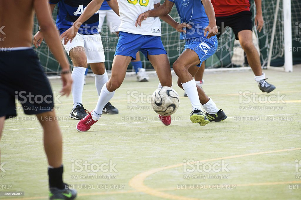 Playing Five Aside Football; Calcetto stock photo