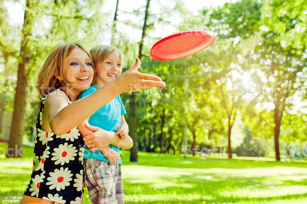 Playing frisbee royalty-free stock photo