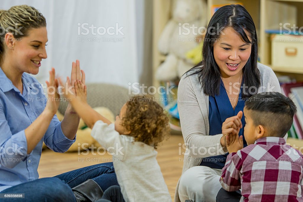 Playing Games in Preschool stock photo