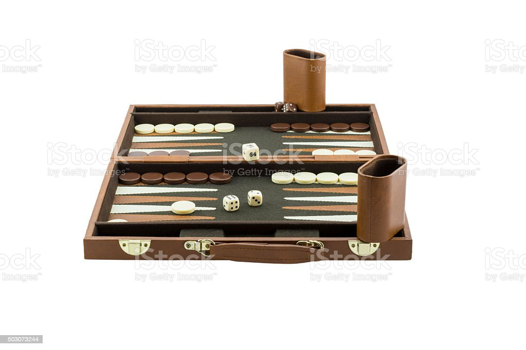 Playing Games Series - Backgammon Board Game Setup stock photo