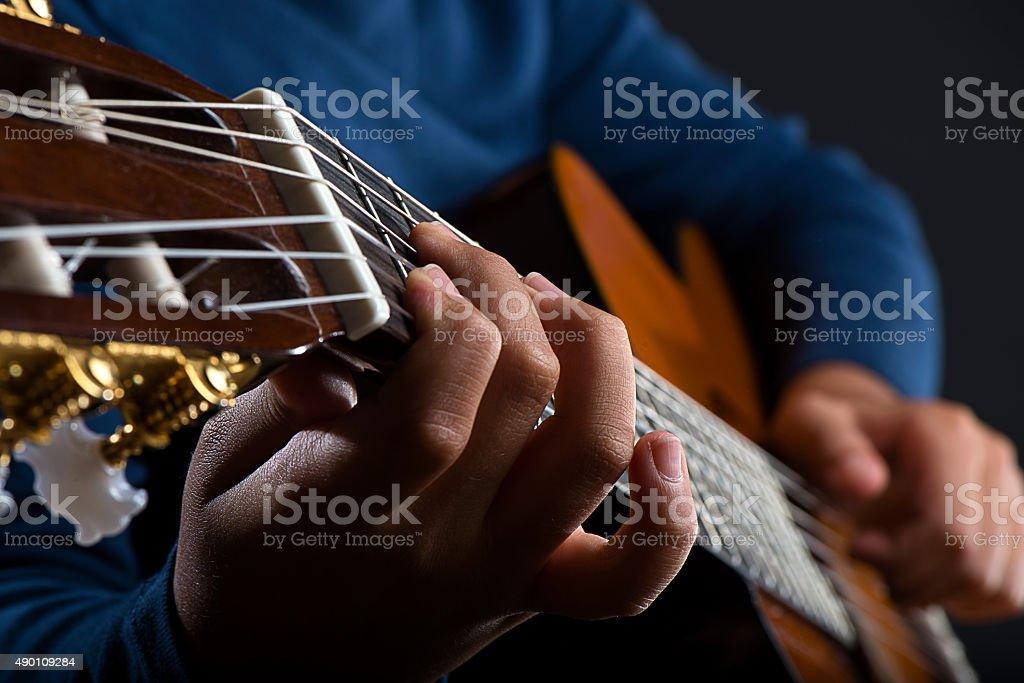 Playing Guitar Close-up stock photo