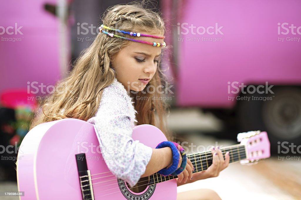 playing guitar gipsy girl royalty-free stock photo