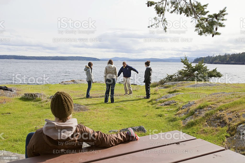 Playing Hacky Sack royalty-free stock photo