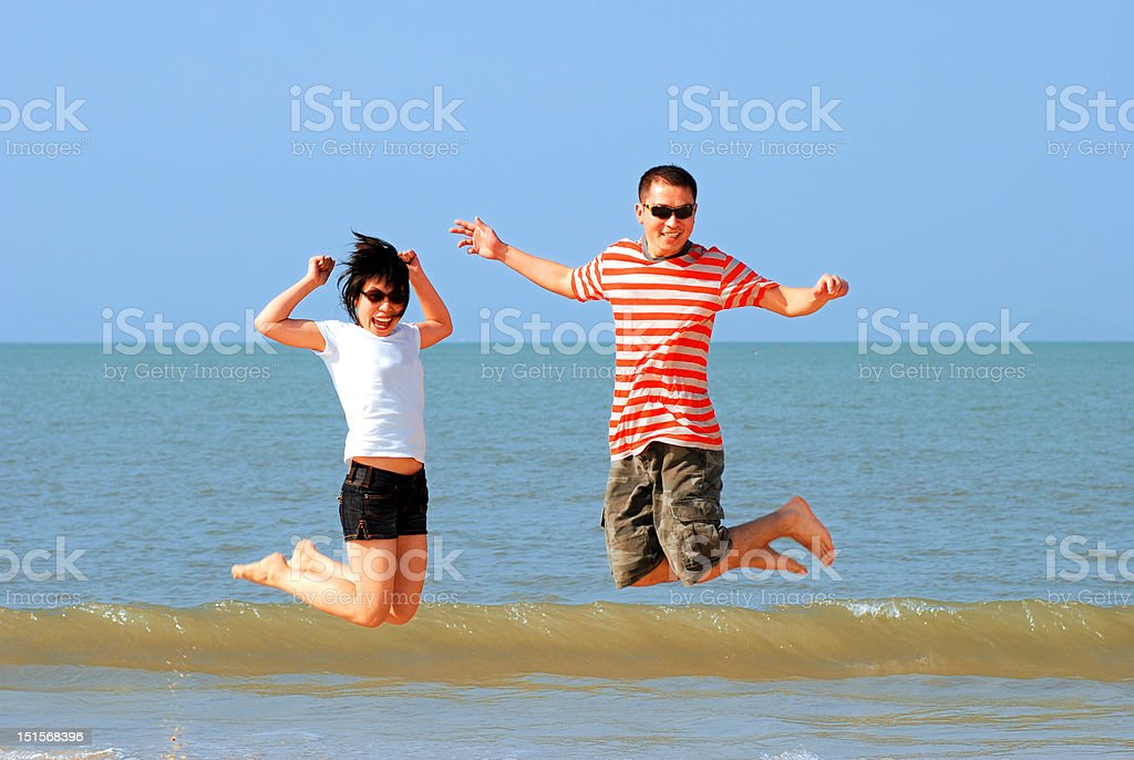 Playing in Beach royalty-free stock photo
