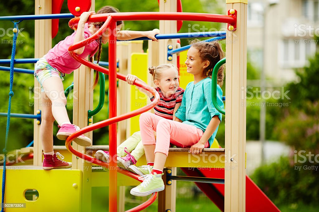 Playing in park stock photo