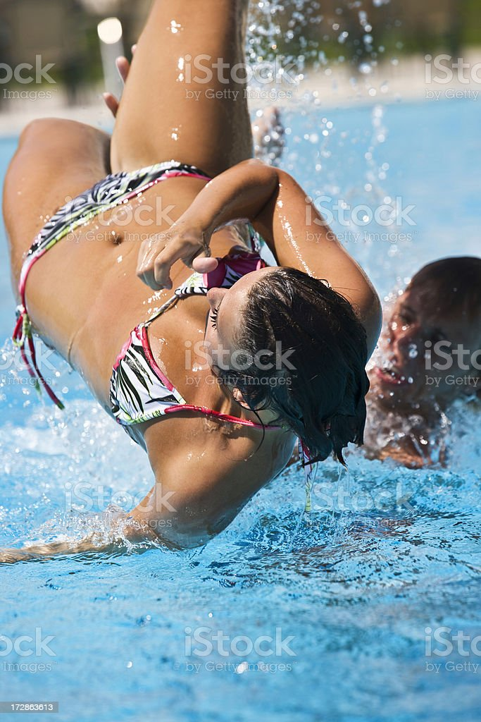 Playing in pool royalty-free stock photo