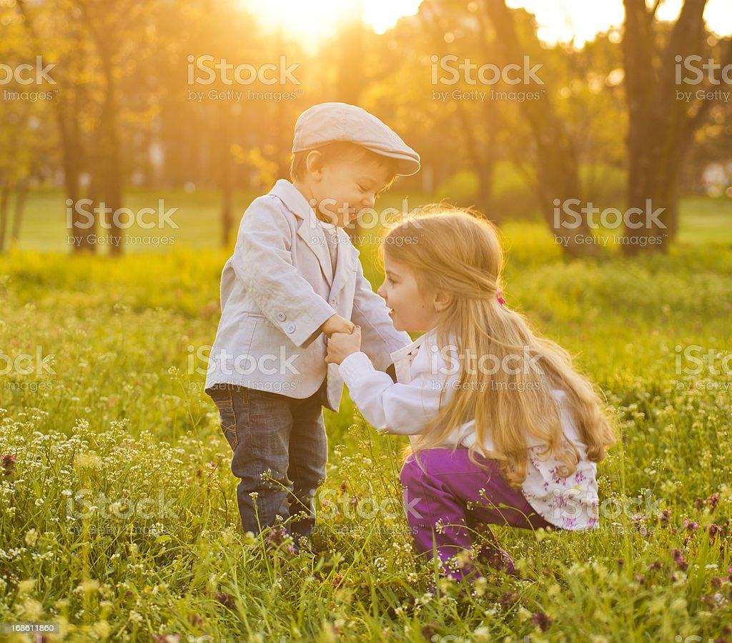 Playing in sunset royalty-free stock photo
