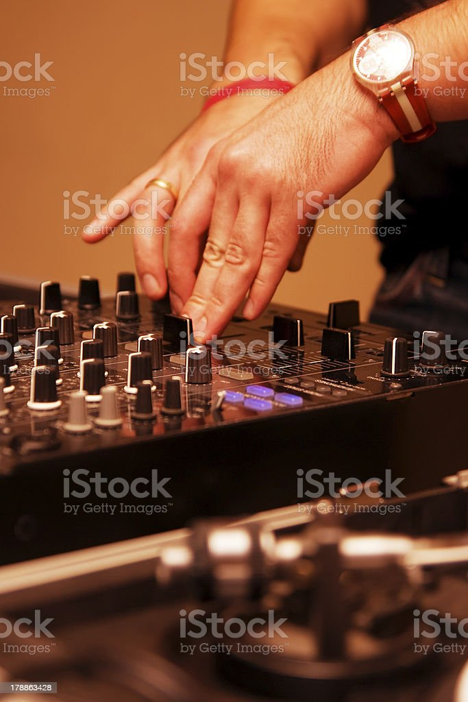 DJ playing in the club stock photo
