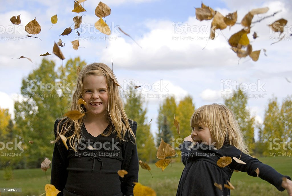 Playing in the Leaves royalty-free stock photo