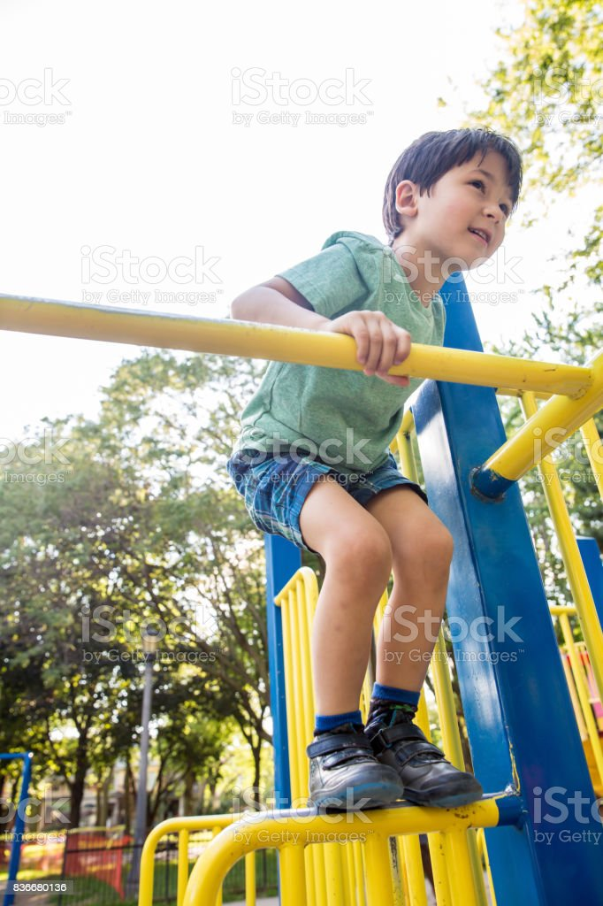 Playing in the playground stock photo