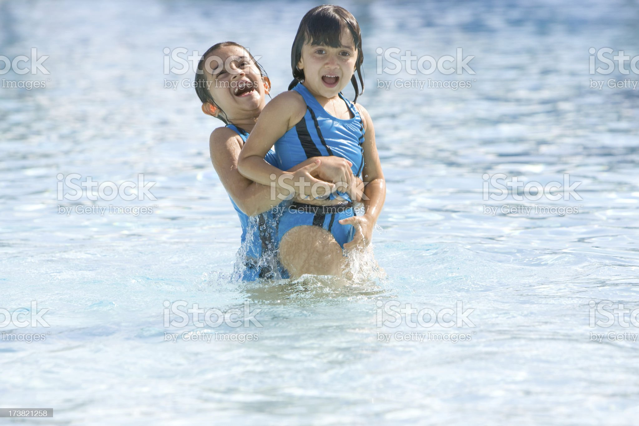 Playing in the Pool royalty-free stock photo