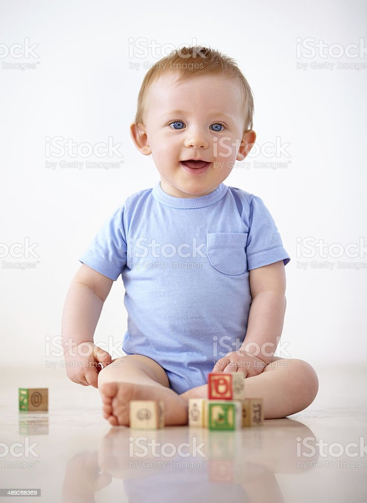 Playing in the safety of home stock photo