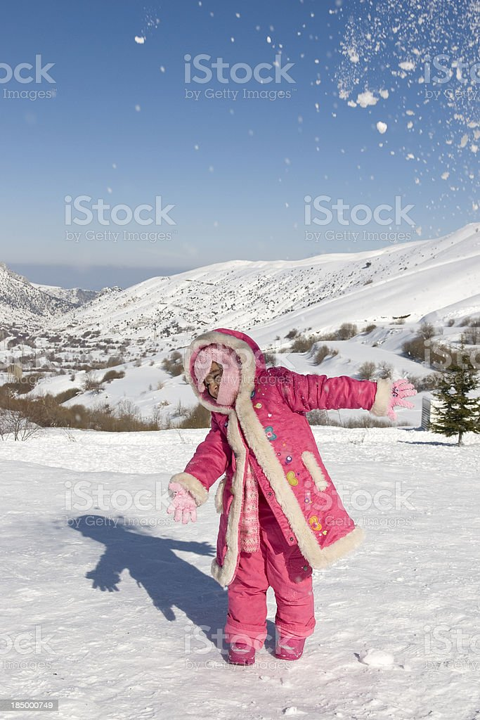 Playing in the snow royalty-free stock photo