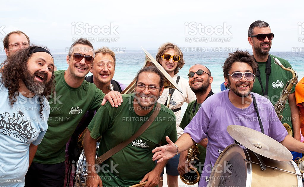 Playing Jazz Music and Smiling stock photo