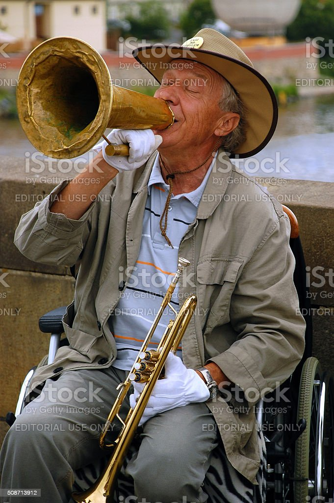 Playing Jazz on the Charles Bridge stock photo