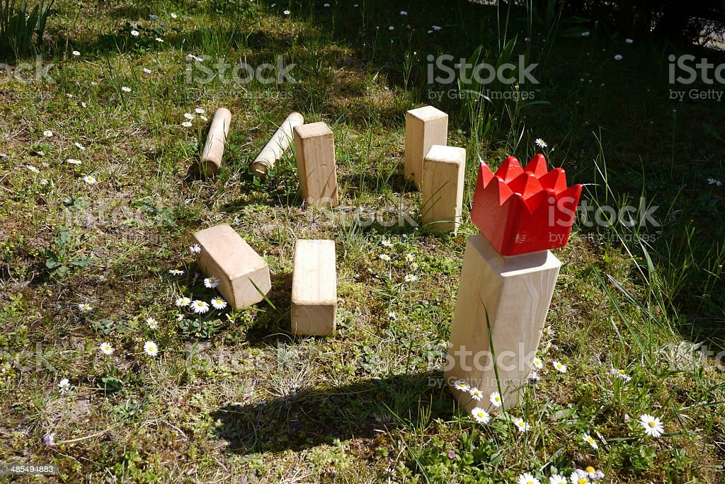 playing kubb, viking chess stock photo