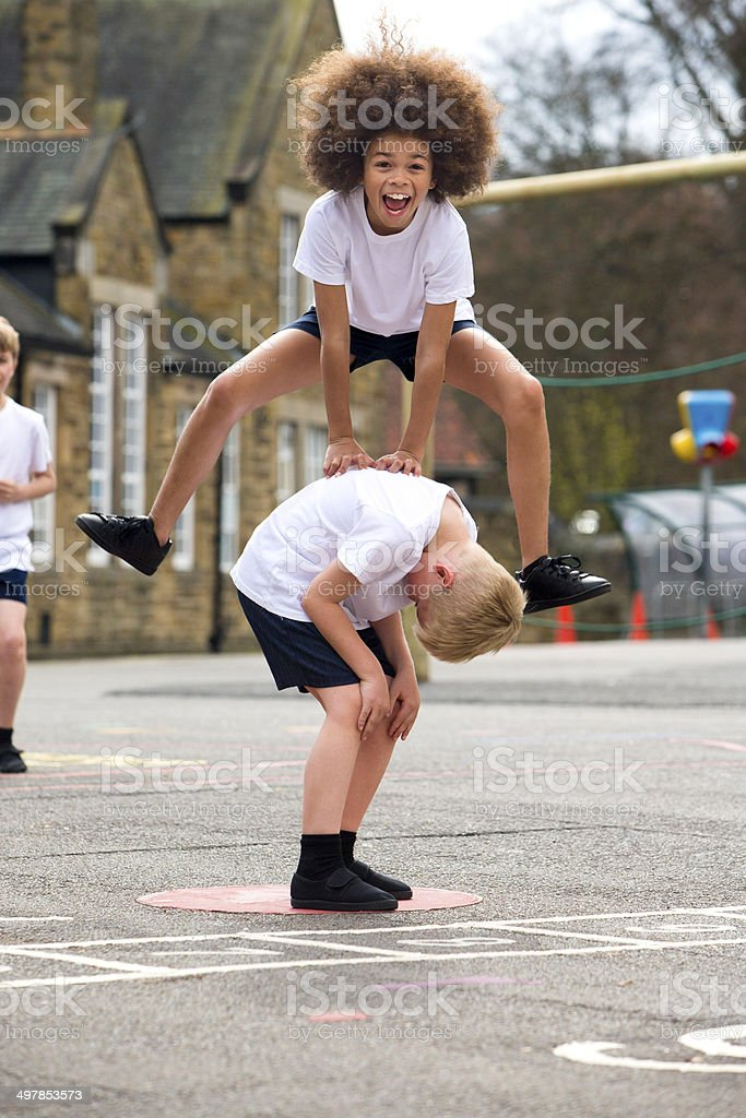 Playing Leap Frog stock photo