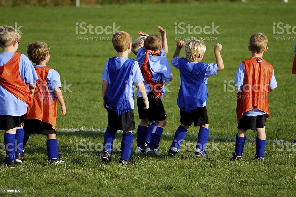 Playing Little League Soccer or Football stock photo