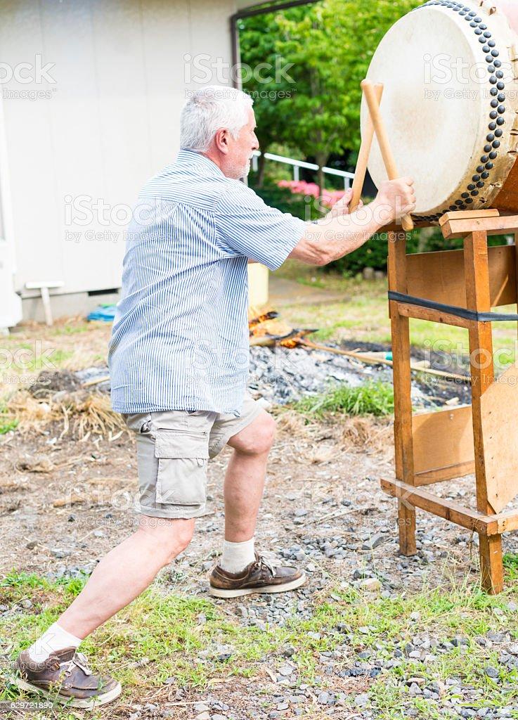 Playing Man, with   traditional Japanese drum Taiko, Tsukuba, Japan stock photo