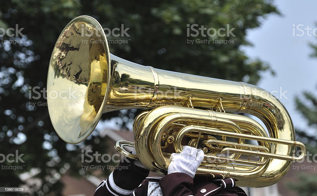 Playing Marching Tuba in Parade stock photo