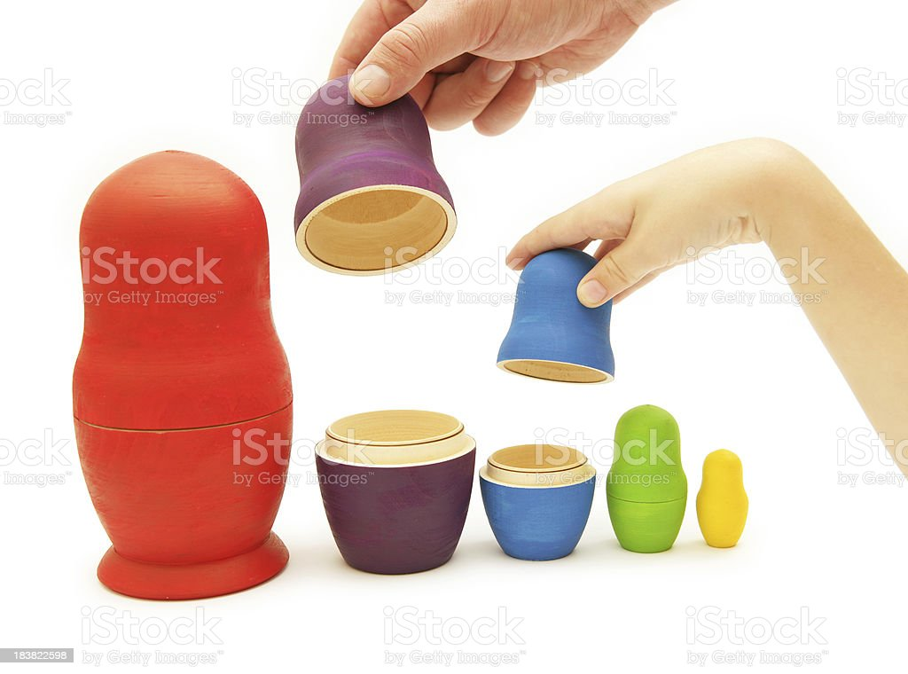 Playing Matryoshkas royalty-free stock photo