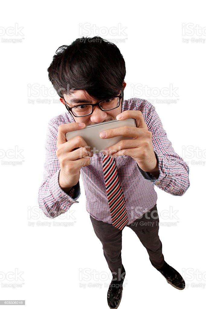 Playing mobile phone man stock photo