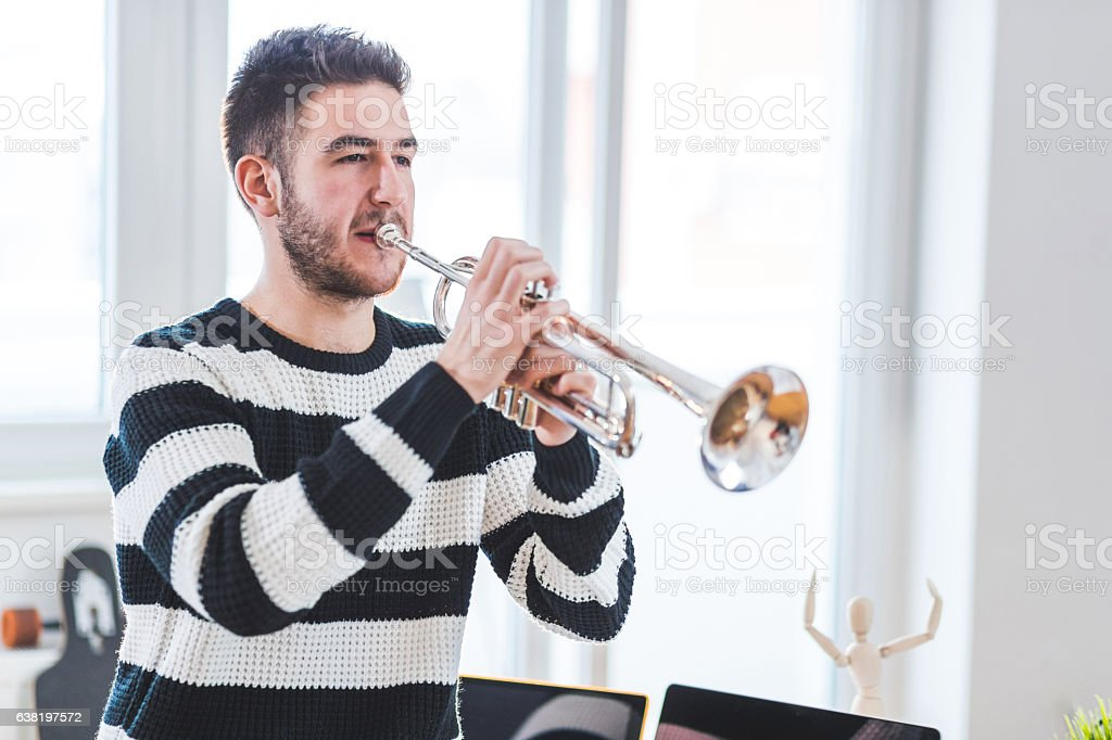 Playing my favorite instrument stock photo