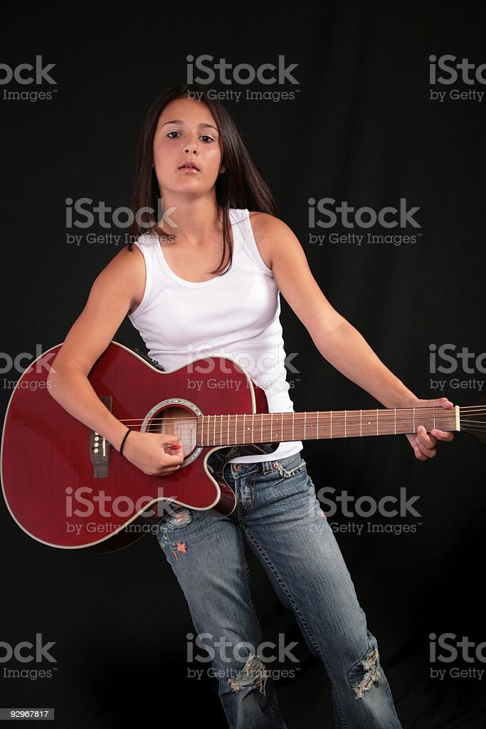 Playing my Guitar stock photo
