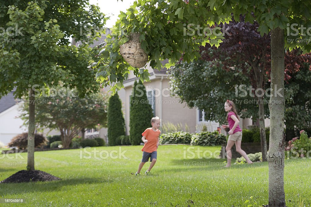 Playing near Danger royalty-free stock photo