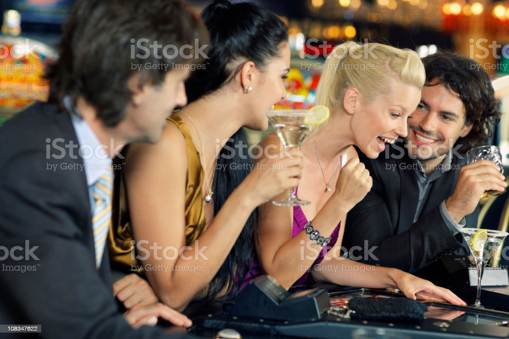 playing on electronic roulette stock photo