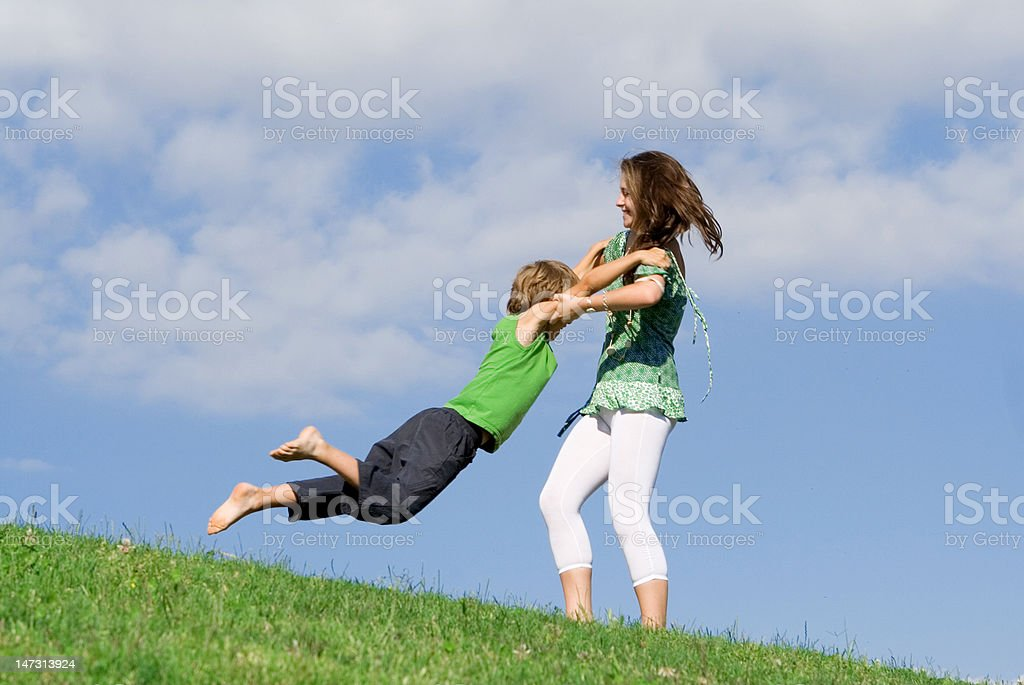 playing outdoors royalty-free stock photo