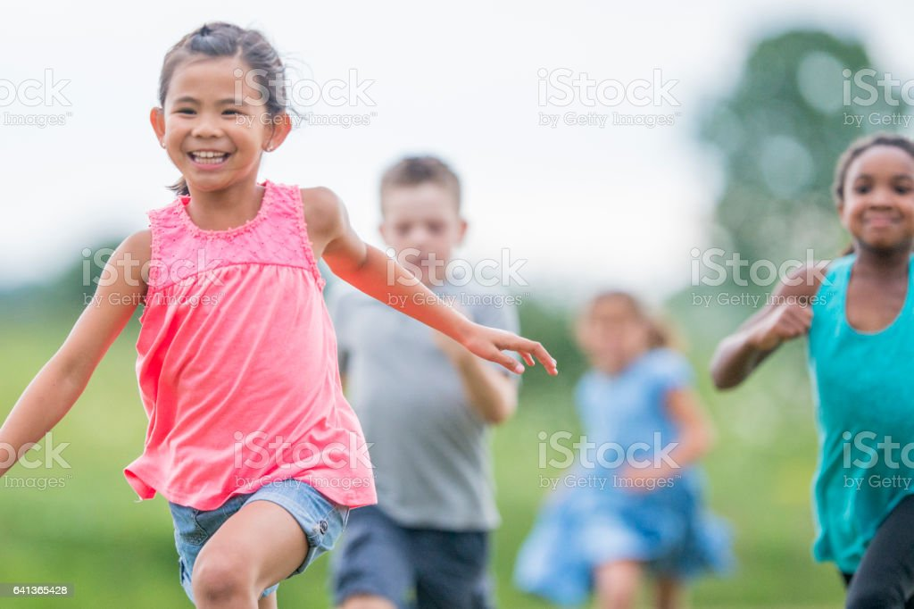 Playing Outside During Recess stock photo