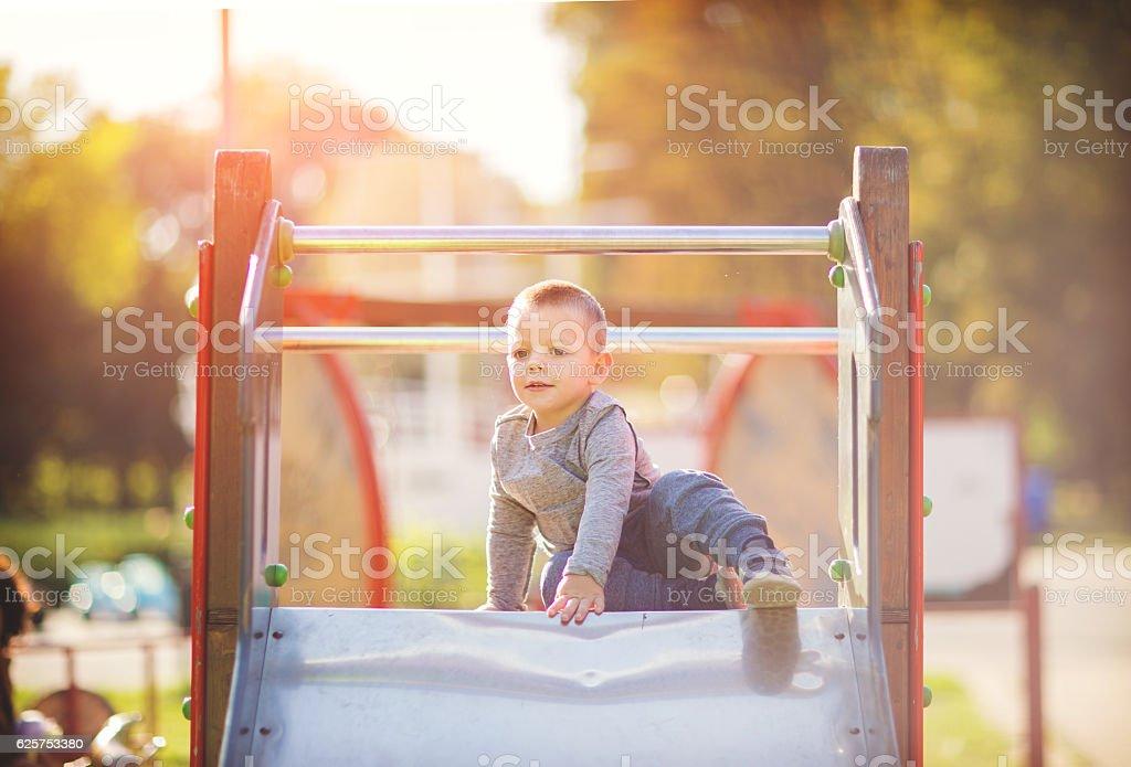 Playing outside stock photo