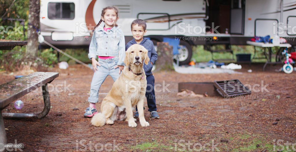 Playing Outside While Camping stock photo