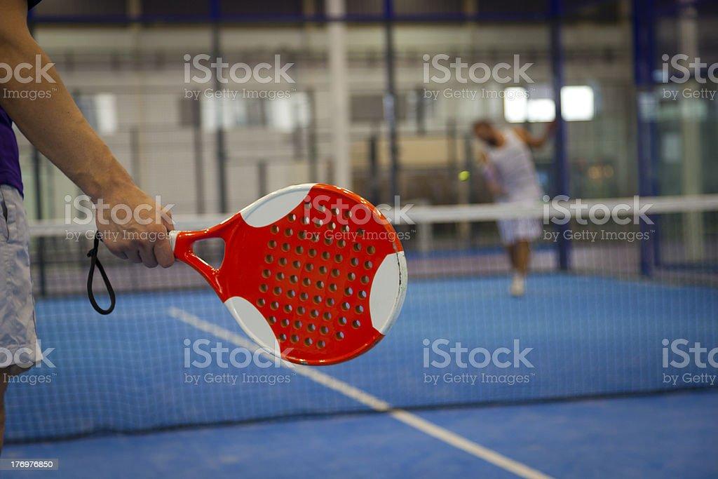 Playing Paddle Tennis royalty-free stock photo